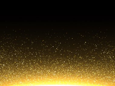 Vector gold glittering particles. Sparkling shimmering dust.
