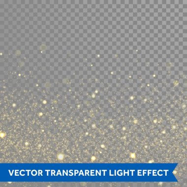 Vector gold glitter particles background effect  for luxury greeting rich card. Sparkling glamour fashion texture. Star dust sparks in explosion on black background. stock vector