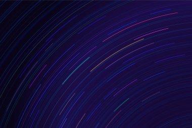 Star trails in night sky. Long exposure sky effect.
