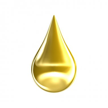 Gold oil drop isolated on white background