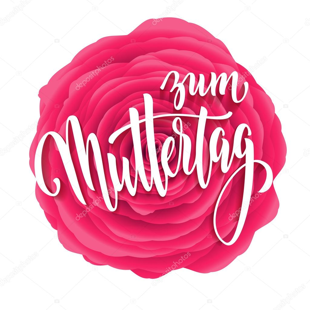Muttertag Liebe greeting card with pink red floral pattern.