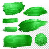 grüne Aquarellpinselstriche. Vektor Ölfarbe schmieren. Polnische Spur.