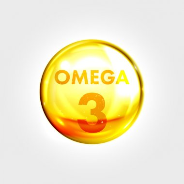 Omega 3 icon drop gold pill capsule