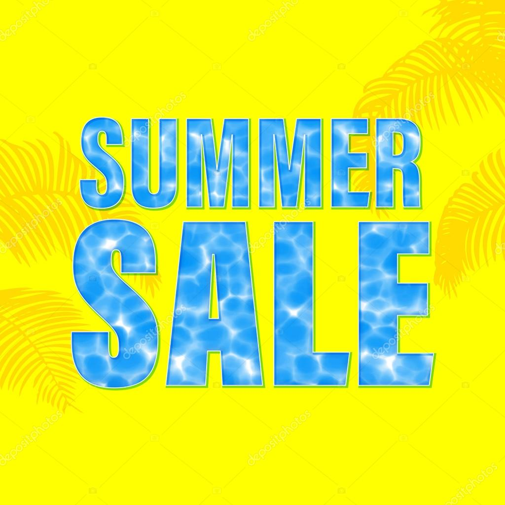 Summer Sale Poster With Underwater Light Wallpaper Background Stock Vector