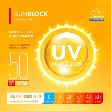 Sunblock suncare strong protection. SPF solution design