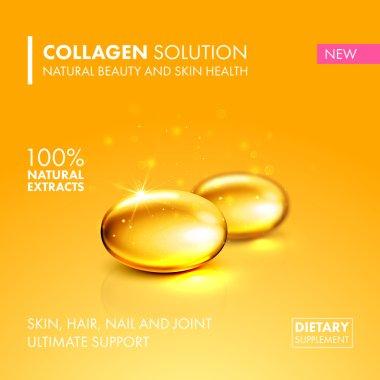 Gold oil collagen capsule pill illustration.