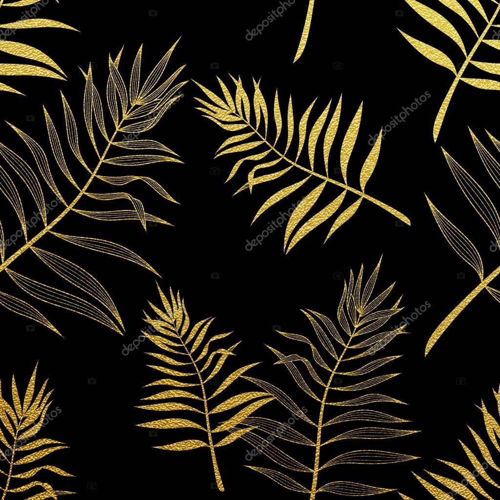 Palm Leaves Golden Seamless Pattern Vector Botanical Illustration Gold Glitter Leaf Hand Drawn Background Wallpaper