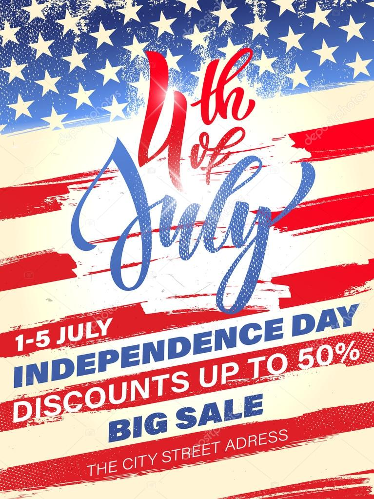 4 july usa independence day fireworks sale poster stockillustration