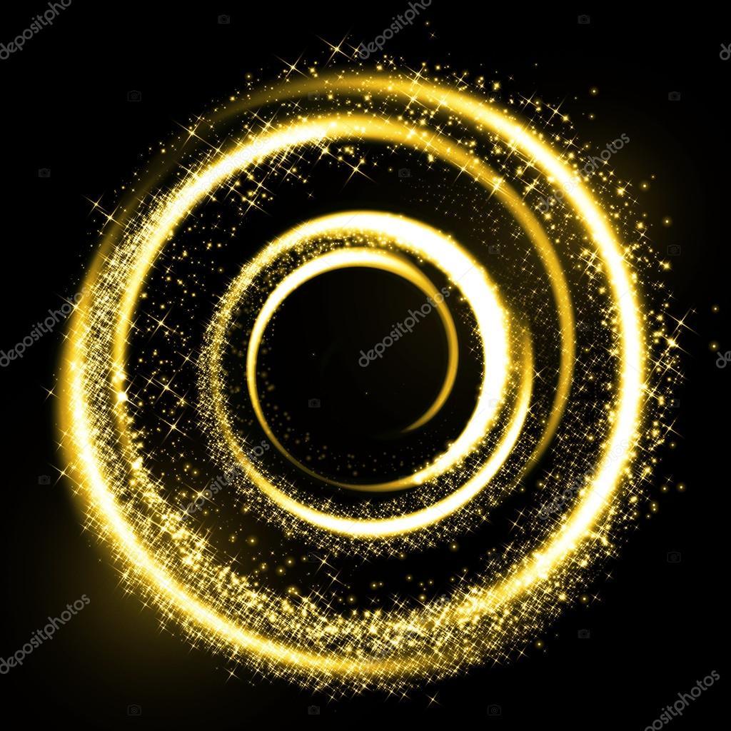 Gold light trail circle. Glitter sparkle swirl.