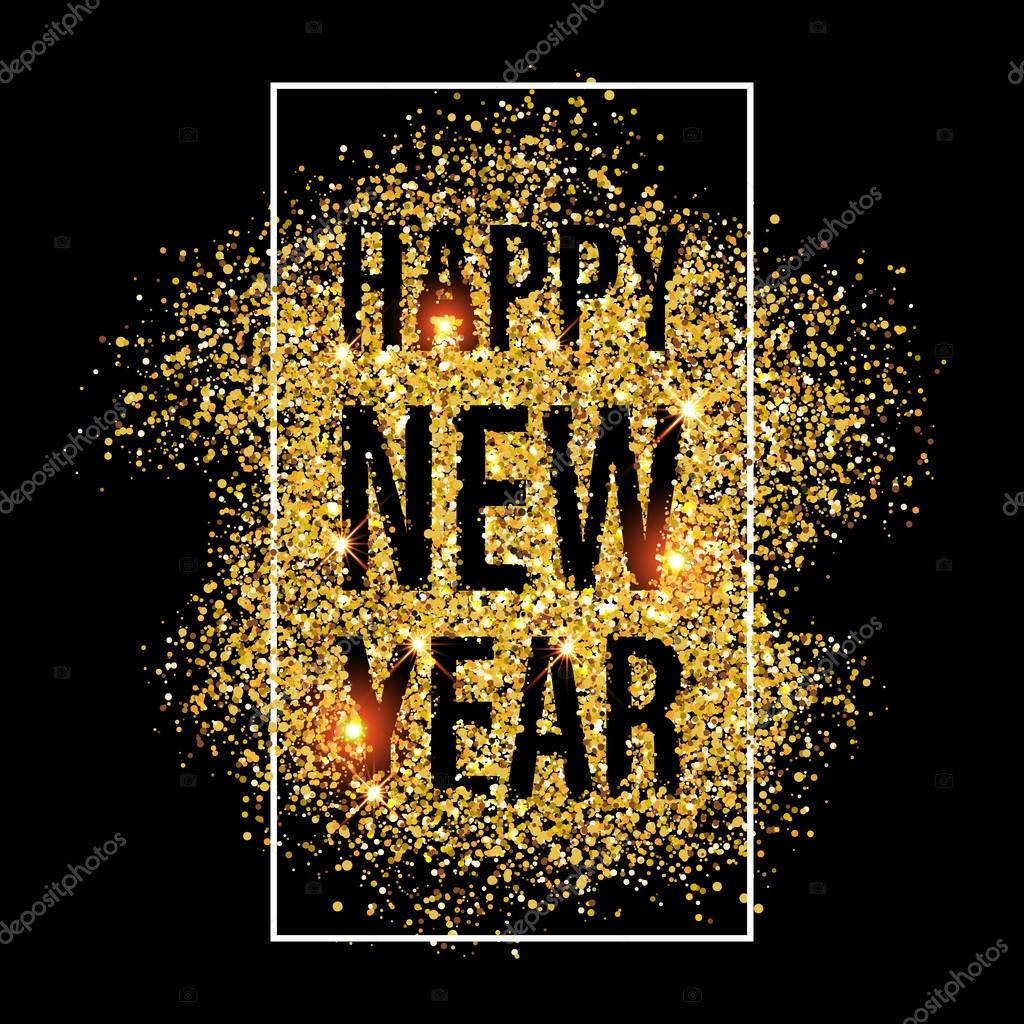 gold glitter happy new year 2017 background stock vector