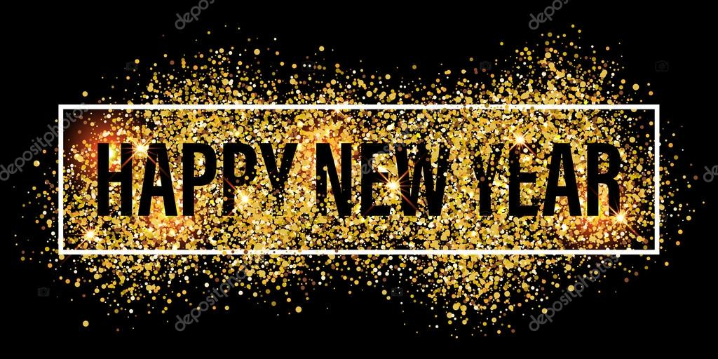 gold glitter flare spray texture new year background stock vector