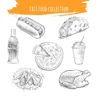 Fast food sketch. Snacks and desserts pencil art illustration.