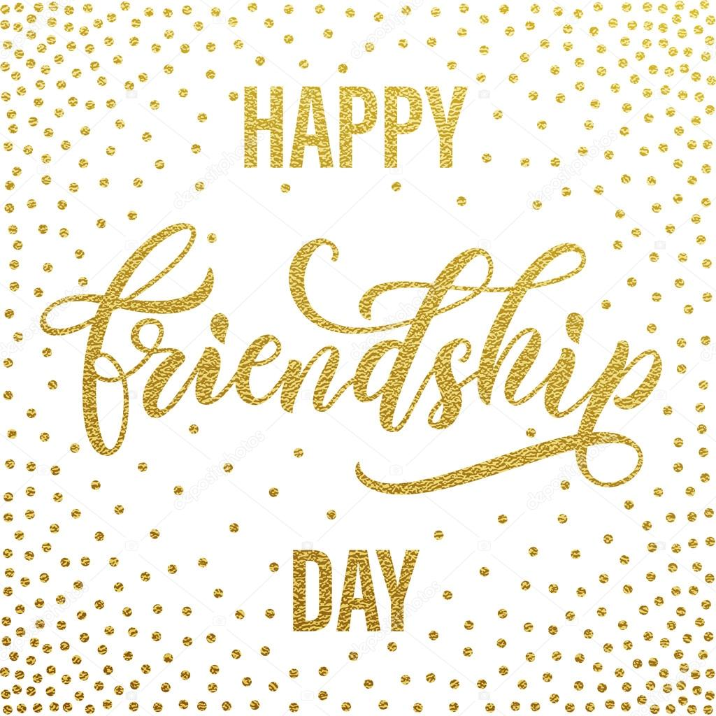 Happy Friendship Day Greeting Card Golden Calligraphy Stock