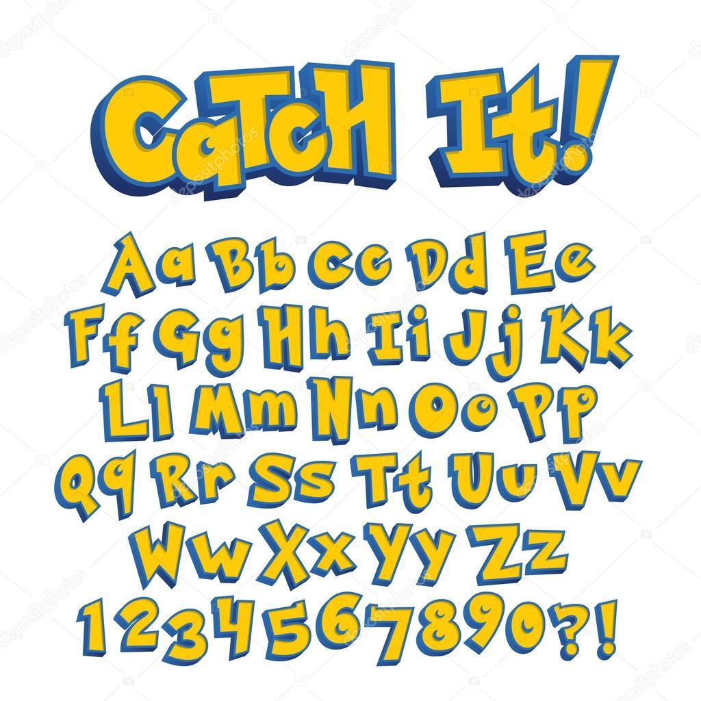 ポケモン スタイルのゲームのアルファベットのフォント — ストック