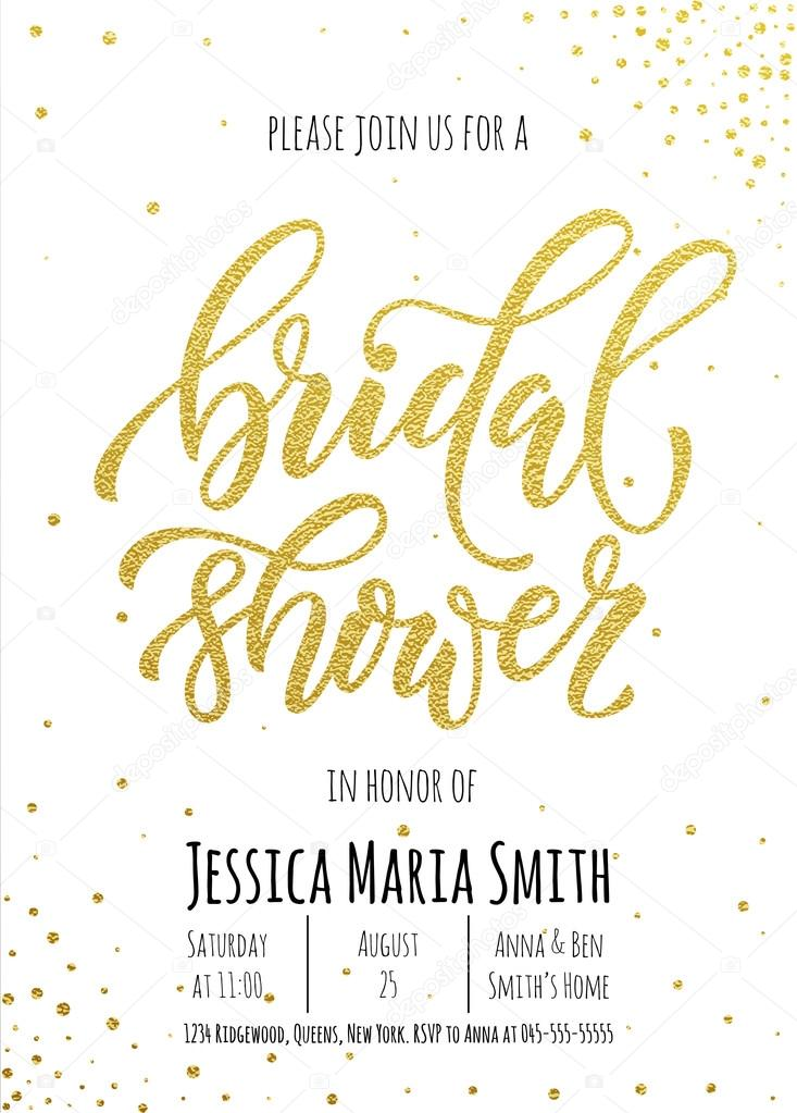 bridal shower invitation card template classic gold calligraphy vector lettering white background with golden glittering dot pattern decoration vector