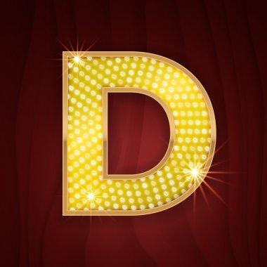 Gold light lamp bulb letter D