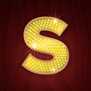 Gold light lamp bulb letter S