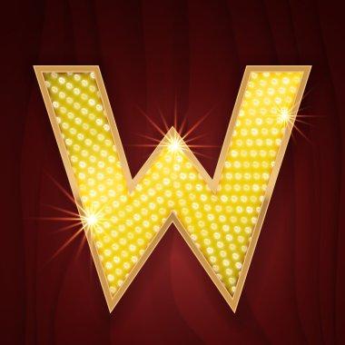 Gold light lamp bulb letter W