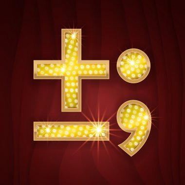 Gold light lamp bulb font Minus, Plus, Semicolon, Dot, Comma marks and signs. Sparkling glitter design in style of vegas casino, burlesque cabaret and broadway show decoration clip art vector