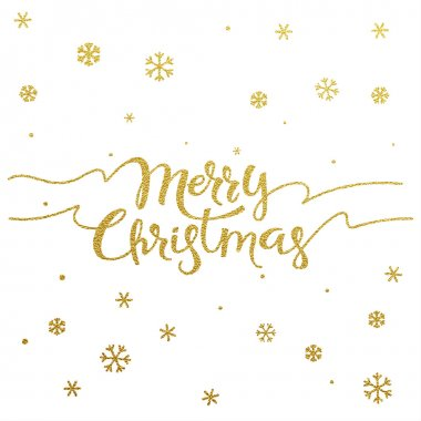 Merry Christmas - gold glittering lettering design with snowflakes pattern stock vector