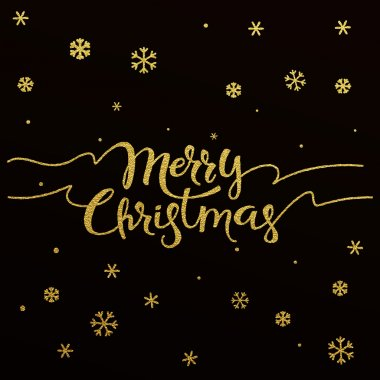 Merry Christmas - gold glittering lettering