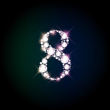 Diamond glittering number eight of sparkling brilliants