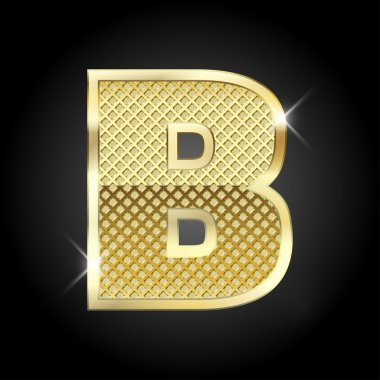 Vector metal gold letter B