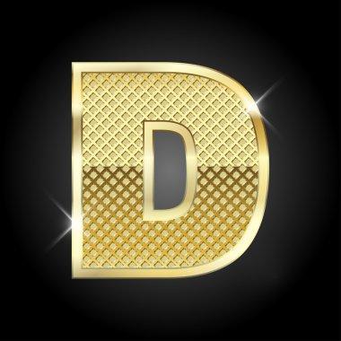 Vector metal gold letter D