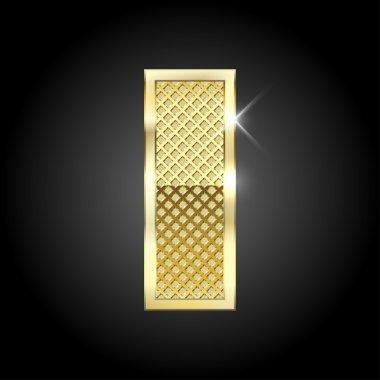 Vector metal gold letter I