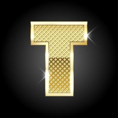Vector metal gold letter T