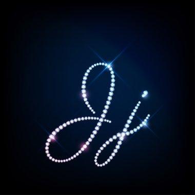 Diamond glittering letter J of sparkling brilliants