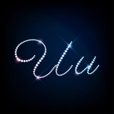 Diamond glittering letter U of sparkling brilliants