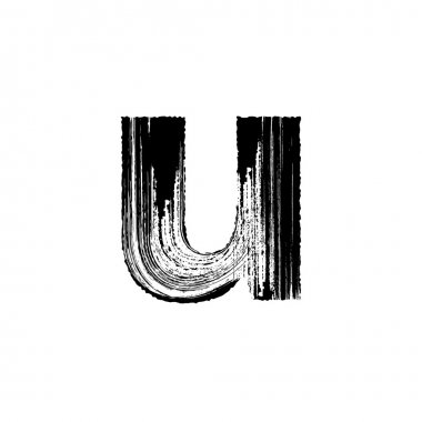 Letter u hand drawn with dry brush. Lowercase