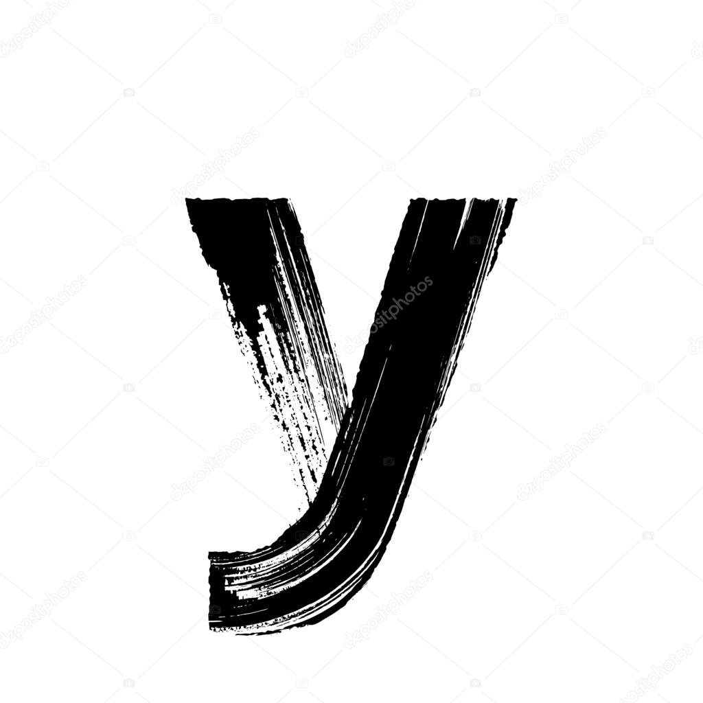 Lowercase Vector Letter Y Hand Drawn With Dry Brush By Ronedale