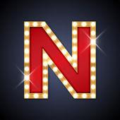 Fényképek N betű alakú lámpák retro sing-testület
