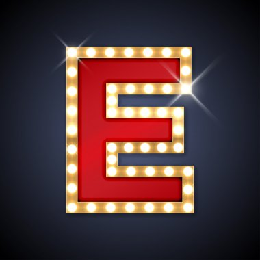 Letter E in shape of retro sing-board with lamps