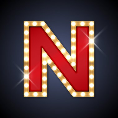 Letter N in shape of retro sing-board with lamps