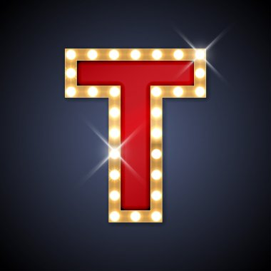 Letter T in shape of retro sing-board with lamps