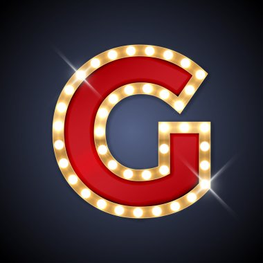 Letter G in shape of retro sing-board with lamps
