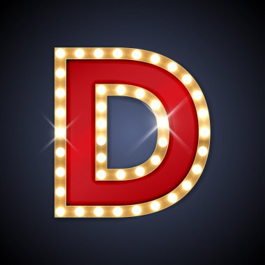 Letter D in shape of retro sing-board with lamps