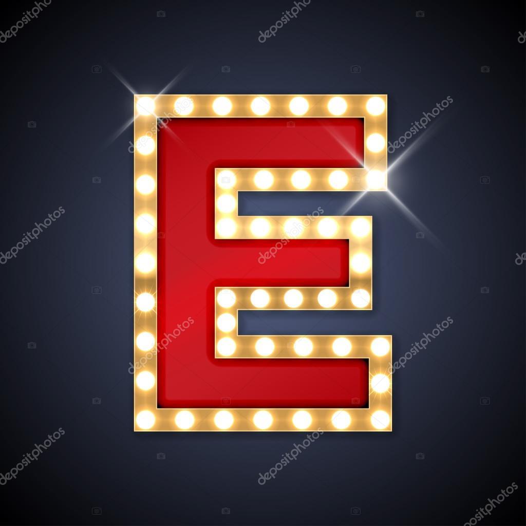 Letter E In Vorm Van Retro Zing Board Met Lampen U2014 Stockvector