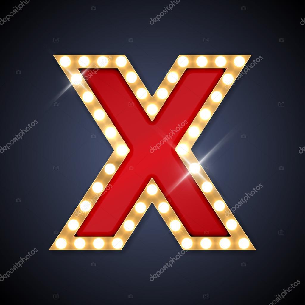 Litera X W Kształcie Retro śpiewać Deska Z Lampy Grafika Wektorowa