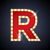 Fényképek R betű alakú lámpák retro sing-testület