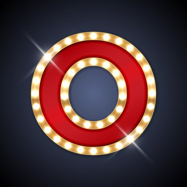 Letter O in shape of retro sing-board with lamps