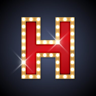 Letter H in shape of retro sing-board with lamps