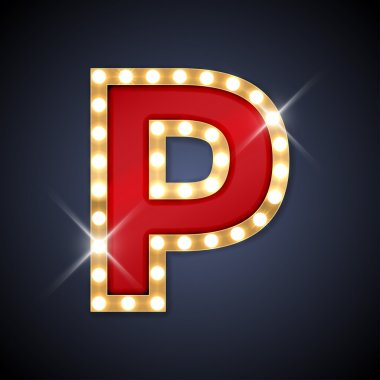 Letter P in shape of retro sing-board with lamps