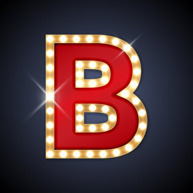 Letter B in shape of retro sing-board with lamps