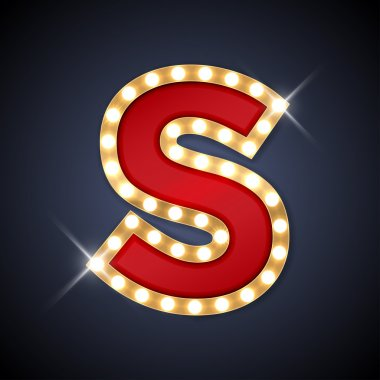 Letter S in shape of retro sing-board with lamps