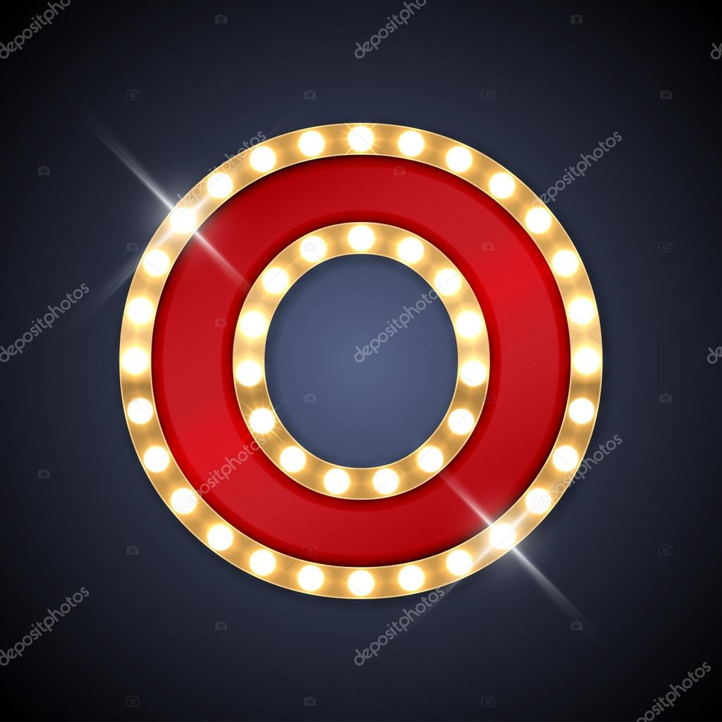 Letter O in shape of retro sing board with lamps — Stock Vector