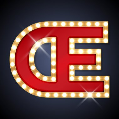 Vector illustration of realistic retro signboard letter OE, ligature OE